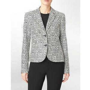 Calvin Klein Leopard Blazer Jacket Stretchy 8
